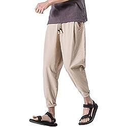 87822ea0ea5c7 Alaso Homme Pantalon de Sport Sarouel Couleur Unie Hip-hop Style Slim Fit  Pants Décontracté