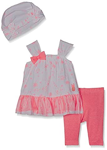 3POMMES Robe, legging et bandeau assorti Rose (Rose (Tropical Pink)) - 9-12 mois (Taille fabricant: 9/12M)
