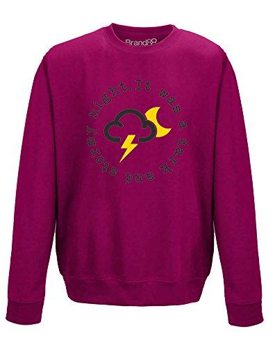 (It Was A Dark and Stormy Night, Erwachsene Gedrucktes Sweatshirt - Rosa/Schwarz L = 112cm)