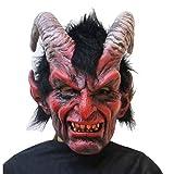 WSJDJ Adulto Cabra de Cuernos del cráneo del Diablo máscara de Miedo de Terror látex Cabeza Completa Máscaras de Halloween Deluxe Cosplay Carnival Vampiro Atrezzo Trajes,Monster-OneSize