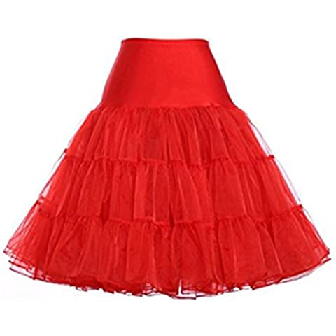 Hosaire 1X Sottogonna battenti Vintage Petticoat Fancy Net Gonna Rockabilly Tutu (rosso), Le ragazze e le donne sono la scelta migliore, Gonne,M