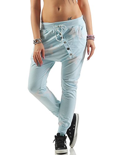 ZARMEXX Pantaloni boyfriend Big Star con bottoni Pantaloni da jogging Pantaloni da fitness da donna Taglia unica Azzurro