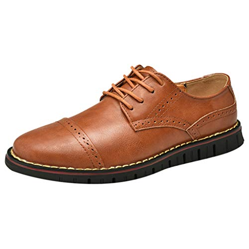 KonJin Men's Prince Leather Lined Dress Oxfords Shoes Solid Color Round Toe Sewing Flat Heel Shallow Mouth Leather Shoes Tan Suede High Heel Pumps