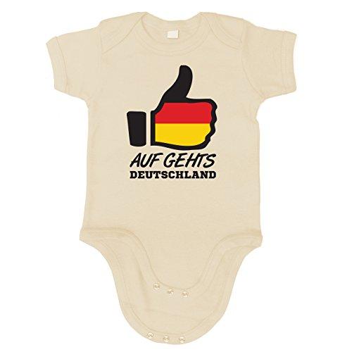 Artdiktat Baby Organic Bodysuit - Strampler - Like WM 18 - auf Geht´s Deutschland - Russia Russland Größe 60/66, Natural