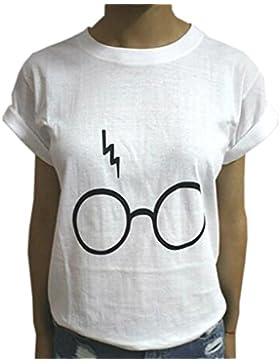 CWCentury Mujer Verano Casual Tops Camisetas Señoras Suelta Algodón Tees Remata Gafas de Láser Harry Potter T-Shirt...