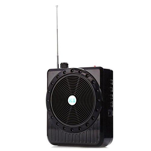 Amlaiworld Mini multifunktional Megaphon für den Unterricht lässig USB Rede Lautsprecher Casual Urlaub Mikrofon Tragbare Reiseleitung Elektronisch Verstärker geräte Unterstützt TF Karte mit Radiofunktion (Schwarz)