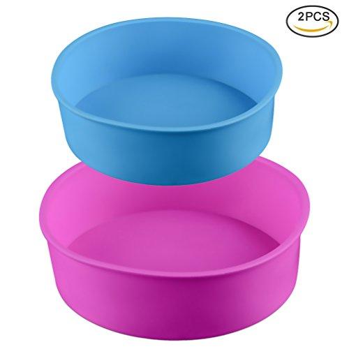 Uarter Antihaft-Silikon-Kuchen-Pan Nicht-toxische Silikon-Käsekuchen-Pan Round Silikon Backformen Pfanne mit verschiedenen Größen zum Backen Doppelschicht-Kuchen, 8 Zoll und 6 Zoll, Set 2, Multi Color (Nicht Silikon)