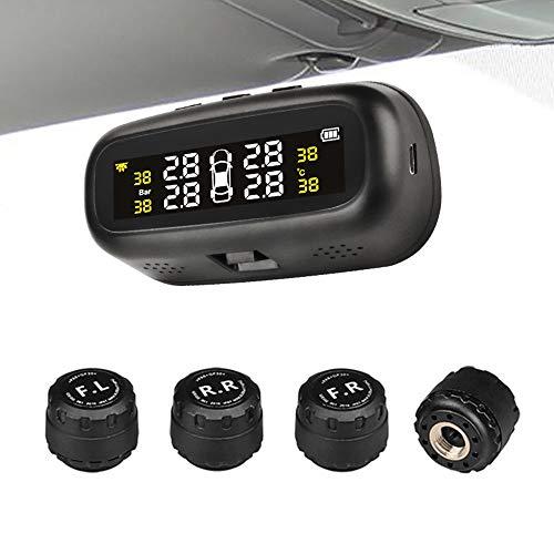 Jansite reifendruck kontrollsystem Auto TPMS Reifendruck Kontrollsystem Solar Panel USB Kabel mit 4 Sensoren, 6 Alarm LCD Display Temperatur Anzeige für Auto, SUV, KFZ -