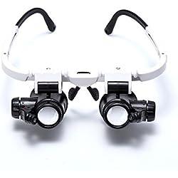 LASTIOFFER® 8x 15x 23x Lupa de ojo doble Llevar la cabeza Lupa iluminada para joyero reparacion de reloj Gafas de aumento con luz LED