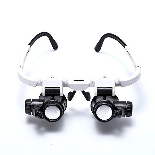 lastioffer® 8x 15x 23x Lupe Auge Doppel-Transport der Kopf Lupe beleuchtet für Juwelier Reparatur Uhr Brillenlupe mit LED Licht