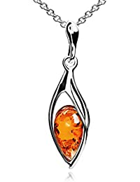 Amber Sterling Silver Marquise Pendant Necklace Chain 46 cm
