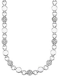 s.Oliver Damen-Collier Kette 42+3 cm verstellbar Edelstahl glänzend Swarovski Kristalle weiß