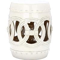 Safavieh Gartenhocker für Innen / Draußen, Glasierte Keramik, vintage weiß, 33 x 33 x 43.18 cm