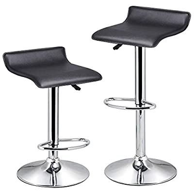 tinxs Set of 2 Black Swivel Leather Kitchen Breakfast Bar Stools Gas Lift Dinning Stool Chair