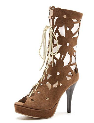 YE Damen High Heels Sommer Stiefel mit Schnürung Sandalen Offene Stiletto Cut Out 10cm Absatz Party Schuhe