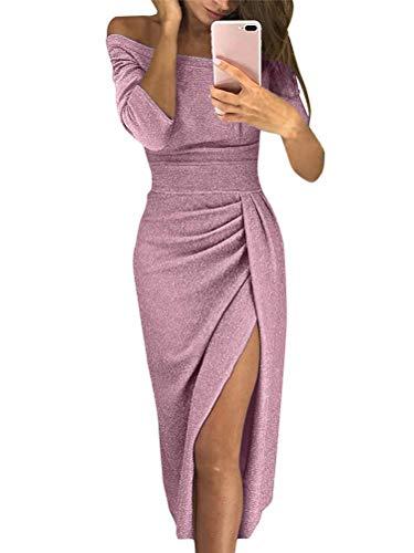 ORANDESIGNE Damen Off Shoulder Kleider für Hochzeit Sexy Elegant Maxikleider Glänzend Hoch Geschnitten Abendkleider Cocktailkleid