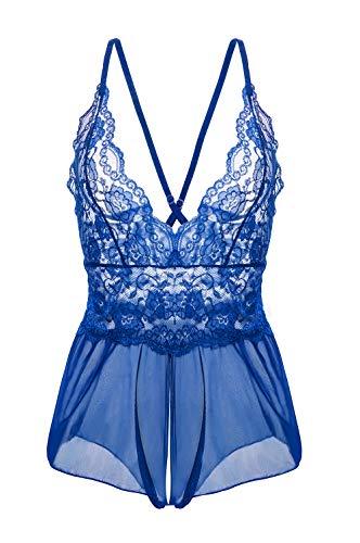 Yidarton Damen Nachtkleid Sexy Babydoll Dessous Set Erotik Lingerie V-Ausschnitt Kleid Spitze Unterwäsche S Blau - Baby Doll Dessous Set
