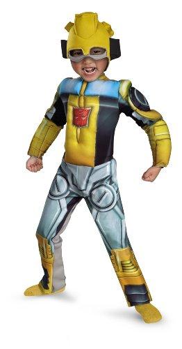 Disguise Bumblebee Rescue Bot Toddler Muscle Costume, Yellow/Silver/Blue, Medium (Jungen Bumblebee Transformer Kostüm)