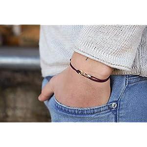 Dezentes Armband für Herren - edles Wickelarmband für Männer Minimalistisch - stufenlos verstellbar mit Karabiner-Haken Gold (Weinrot)