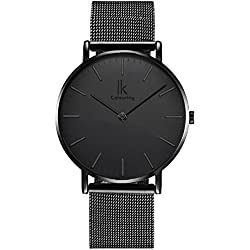 Alienwork IK All Black Quartz Watch elegant Wristwatch stylish Timeless design classic Metal black black 98469G-G-01
