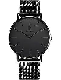 Alienwork IK All Black Quarz Armbanduhr elegant Quarzuhr Uhr modisch Zeitloses Design klassisch Metall schwarz 98469G-L-01
