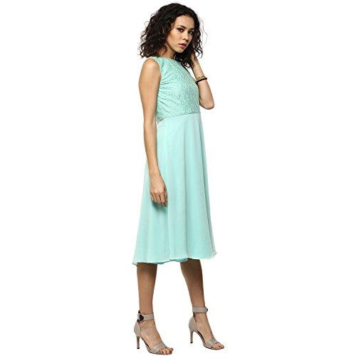 Femella Women's Green Lace bodice Midi Dress (DS-799759-1131-GRN-S )
