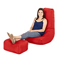 Water Resistant Outdoor Gaming Bean Bag Lounger Chair and Footstool - Red