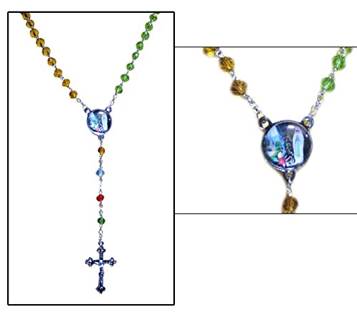 Catholic-Rosary-Multi-Color-Handmade-Beads-with-Cross-Crucifix-Wall-Hanging-Wall-cross-Small-Rosary
