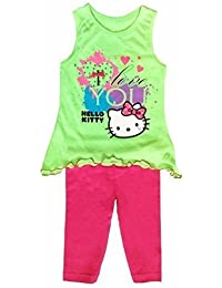 Hello Kitty Enfants Tunique et Legging Set Costume Vert