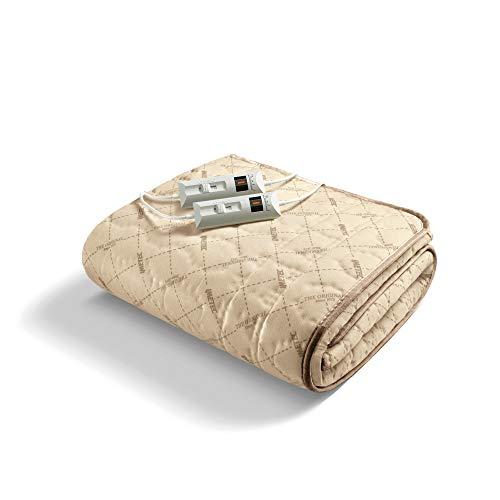 Imetec scaldaletto matrimoniale, 2 comandi con 2 temperature, tessuto trapuntato, lavabile a mano e in lavatrice a 40°, 150 x 140 cm