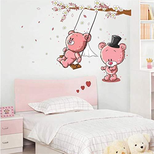hllhpc Bande Dessinée Couple Ours Swing Branch Stickers Muraux Pour Chambres d'enfants Chambre d'enfant Bébé Chambre Décor À La Maison Art Bricolage Decal 60X90cm