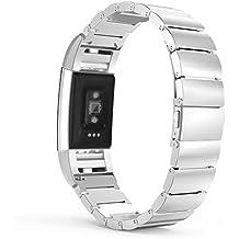 MoKo Fitbit Charge 2 Correa - Reemplazo SmartWatch Band de Reloj de Acero Inoxidable Bracelete con Hebilla Plegable de Doble Botnnes Pulsera para Fitbit Charge 2 Heart Rate + Fitness Pulsera ( NO INCLUIYE EL RELOJ Y MARCO), Plata