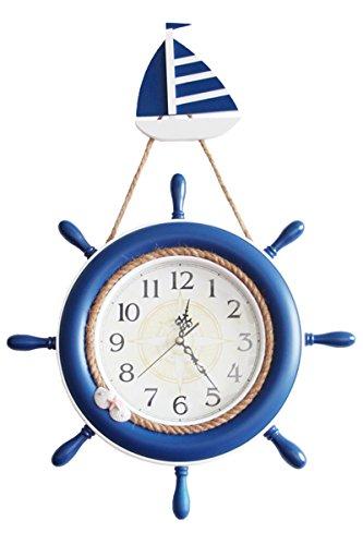 SL&HEY Styling creativi timone orologi da parete in legno orologio boy camera per bambini mute orologio al quarzo decorazioni a parete grande ,18 , in blu