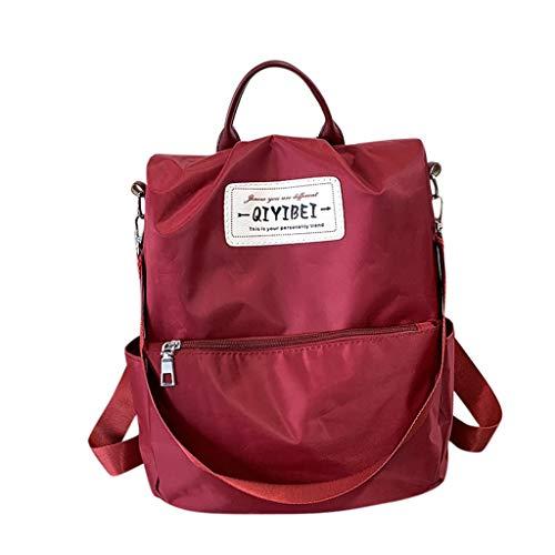 HOOPERT Mochila para Mujer Damas con estilo Mochila de nylon impermeable Bolsos escolares Antirrobo Casual Dayback Bolsas de hombro Mochila de viaje ligera Mochila de Moda Mochila