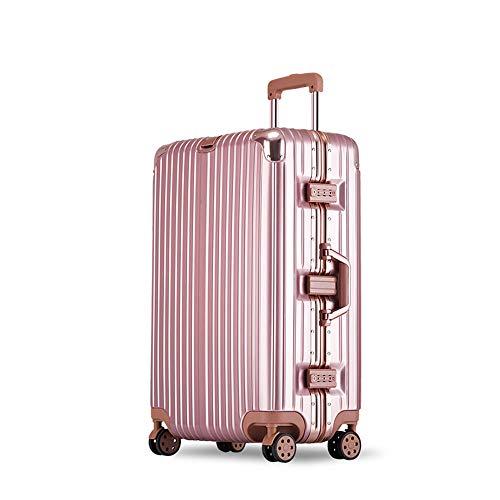 YCYHMYF Valigetta per valigie in Alluminio con Trolley Universale Valigetta per Trolley Femmina con Valigetta (Rosa 20 Pollici)