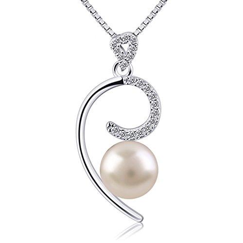 B.Catcher Kette Damen Perle Hälfte Herz 925 Sterling Silber Halskette Anhänger Italien Schmuck
