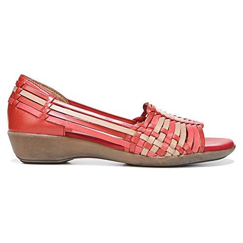 Naturalizer Nerissa Damen Breit Leder Keilabsätze Sandale Red Multi