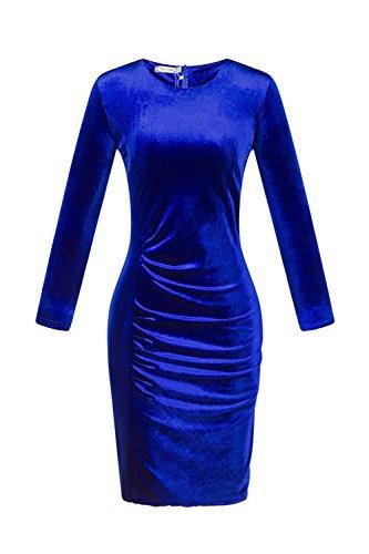 Le Donne Eleganti A Maniche Lunghe Giro Collo Plissettata Bodycon Vestito Di Velluto Blue