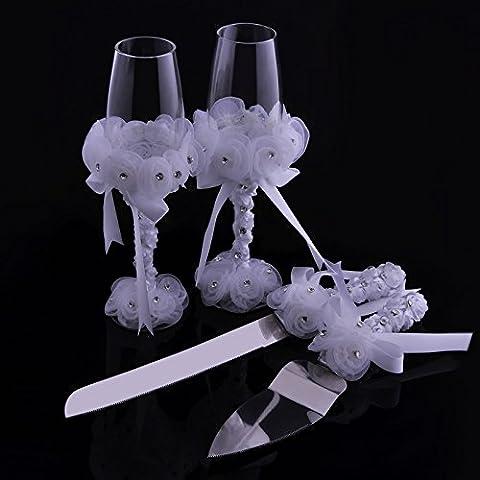 Élégant Mariage flûtes à griller Soucoupe Verres à champagne et couteau à gâteau serveur avec ensemble de fleur rose Décoration