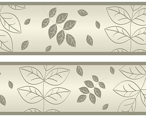 """Kleisterbordüre """"trockene Blätter"""", 4-teilig 520x15cm, Tapetenbordüre, Wandbordüre, Borte, Wanddeko,Natur, beige"""