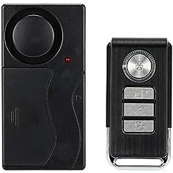 KKMOON Alarme de Porte et Fenêtre,Alarme de Vélo Moto Voiture,Vibration Contrôle Sécurité,Capteur Détecteur, Ultra Fort 105dB,avec Télécommande Alarm Maison sans Fil