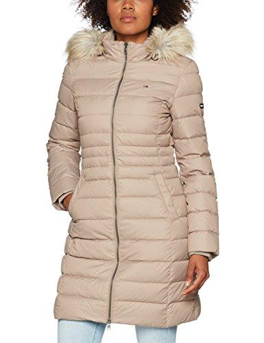 Tommy Jeans Hilfiger Denim Damen Mantel THDW Basic Coat 3, Beige (Fungi 004), X-Small