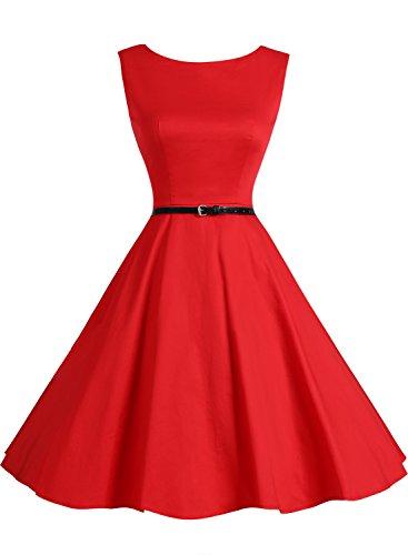 Bbonlinedress modèle 2 Vintage rétro 1950's Audrey Hepburn robe de soirée cocktail année 50 Rockabilly Rouge
