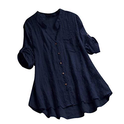 COZOCO 2019 Bluse Frauen Plus Größen-Weinlese-Lange Hülsen-V-Ansatz Spitze-Knopf-Oberseiten-T-Shirt Bluse Oberteile Marine 5XL