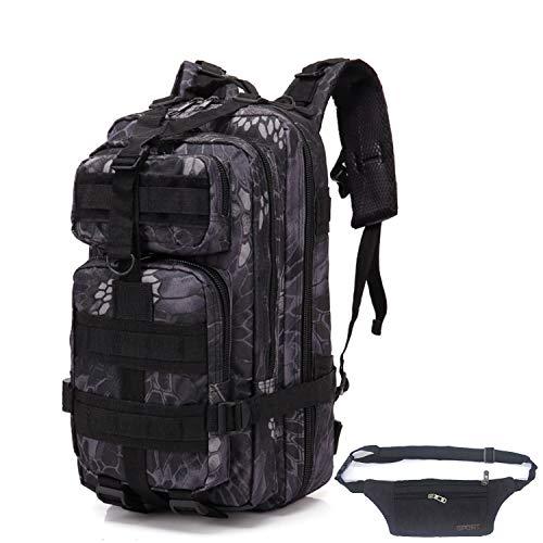 QHIU Taktischer Rucksack Assault Camo Backpack Army Military Tactical Bag für Trekking Wandern Bergsteigen Klettern Outdoor Sport mit Gürteltasche -