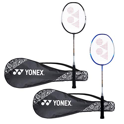 Yonex ZR 100 Light Aluminum Blend Badminton Racquet with Full Cover, Set of 2 (Black/Blue)