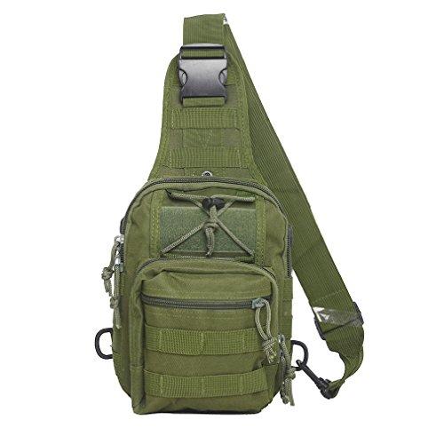 Tactical Sling Bag Cross-Body-Brust Rucksack Militär Schulter Pack EDC MOLLE-Fliegen Fischen Packungen für iPad Nylon Outdoor Camping Wandern Trekking Reise Daypack, olivgrün