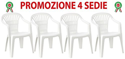 Sedie Di Plastica Bianche.4 Pz Poltrona Sedia Scilla In Dura Resina Di Plastica Bianca