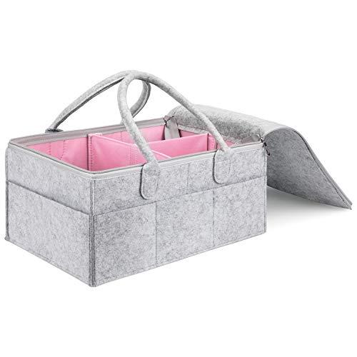 MaidMAX Cesta de Pañales con Tapa, Pañalera Portátil con Compartimentos Ajustables para Cuarto de Bebé, Cohce, Viaje, Organizador de Pañales, Cosas de Bebé, Rosado