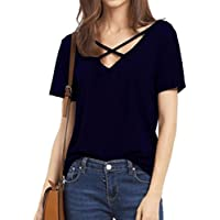 mujeres manga corta cuello en V sexy correa sólida hacha äufig Basic–Camiseta Top Blusa, color azul marino, tamaño xx-large